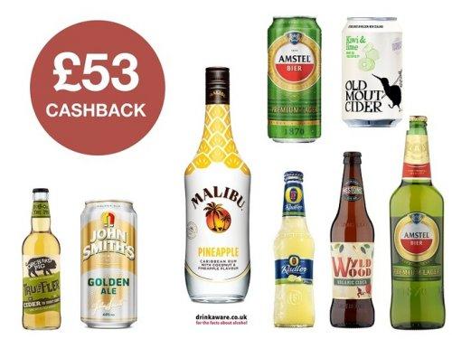 Get a total of £53 cashback via CheckoutSmart on Alcohol