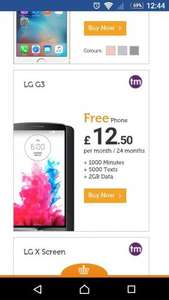 LG G3  £12.50 per month / 24 months, 1000 Minutes 5000 Texts 2GB Data Total £300 @ The Smartphone Company