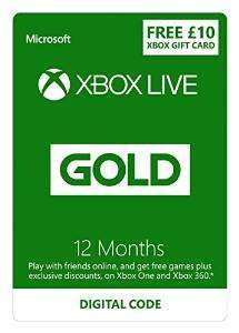 Xbox Live 12 Months + £10 Xbox Gift Card - £31.49 (Prime Only)