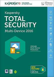 Kaspersky Total Security 2016 Multi Device 10 Device 1 Year £14.99 Amazon Prime
