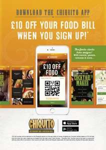 £10 off your next food bill when you get the Chiquitos app