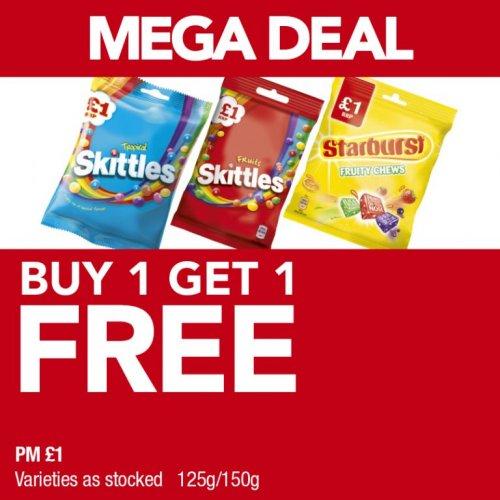 Skittles / Starburst (125g/150g) (Varieties as stocked) Price Marked £1.00 now (BOGOF) in Premier Stores