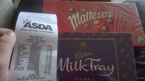 Malteasers 360G box £1.50 or Cadburys milk tray 78g 50p in Asda Gosport (not sure if regional) INSTORE ONLY
