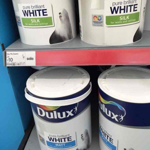 Dulux Pure Brilliant White Silk/Matt Emulsion £10.00/5L (instore Asda)
