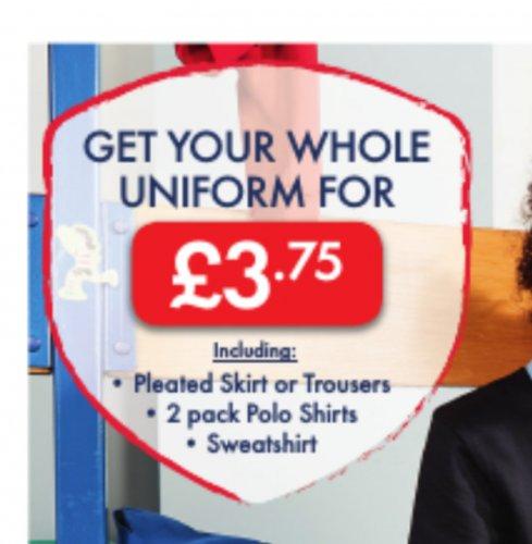 LIDL Back To School Uniform full Set £3.75, Trousers/Skirts £1.25, Polo Shirt £1.25, Sweatshirt £1.25