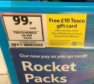 Free £10 Tesco Giftcard with PAYG Rocket Sim + Topup (min £10.00)