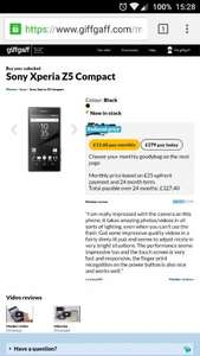 Sony Xperia Z5 Compact Sim free £279 GiffGaff