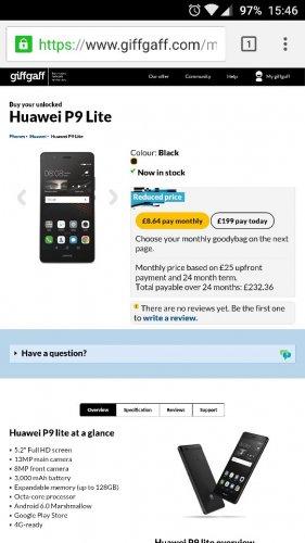 Huawei P9 Lite Sim free £199 GiffGaff