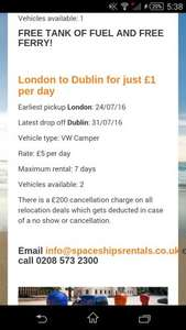 Camper Van Rental from £1 a day at Spaceship Rentals