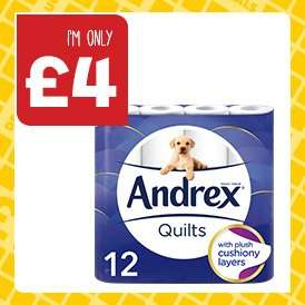 Andrex Quilts Toilet Tissue 12 roll ONLY £4.00 @ One Stop