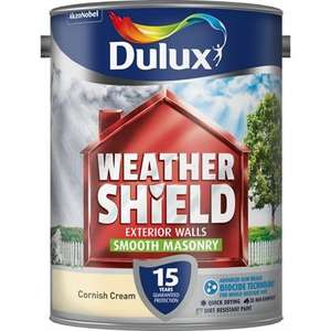 Dulux Weathershield Cornish Cream - Smooth Masonry Paint - 5L £23 homebase