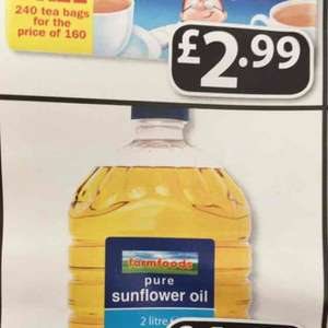 2 litres Pure Sunflower Oil for £1.89 at Farmfoods