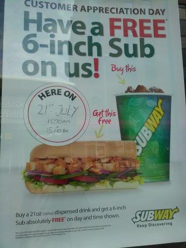 """buy a 21oz drink get a 6"""" sub free £1.50 Subway"""