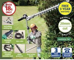 Electric pole hedge trimmer - 3 year guarantee - scanning at £49.99 Aldi in Wath upon Dearne.