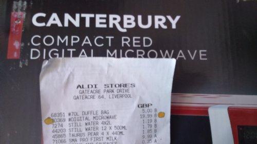 Russel Hobbs red digital microwave £19.99 Aldi instore