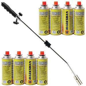 WEED BURNER KILLER WAND BUTANE GAS BLOWTORCH 8 CANS OF GAS £17.95 DELIVERED ebay /  direct2publik