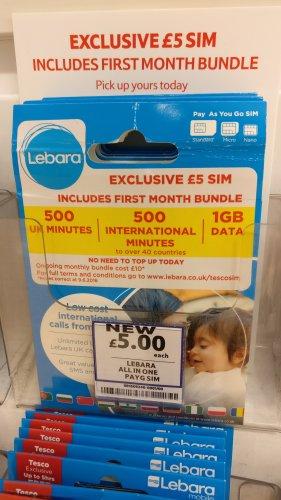 £5 Lebara sim gets you 1GB data + 500 int mins! @ Tesco
