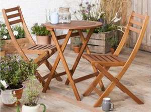Wooden Folding Garden Bistro Set was £50.00 now £30.00 @ Tesco Direct (Delivery £3 or Free with Delivery Saver) **