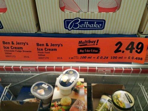 BOGOF Ben n Jerry's  at Lidl £2.49