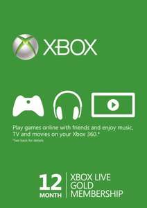 12 Month Xbox Live Gold Membership (Xbox One/360) (£27.55 ish with cdkeys 5% fb like code)