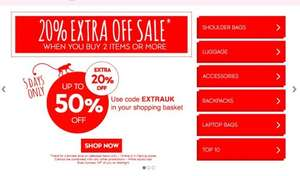 Up to 50% off some kipling bags plus extra 20% extra if order placed by sunday