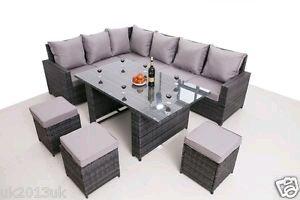 Conservatory Garden range Rattan garden furniture set 9 seater dining set Grey £449 @ GARDEN-FURNITURE-OUTLET / Ebay