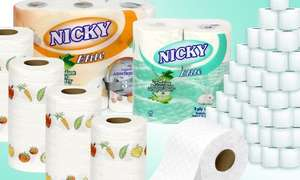 45 rolls of Nicky Aloe Elite (3-ply) toilet paper + 15 rolls of Nicky Kitchen Towel £8.98 with code delivered or 90 Nicky Toilet Rolls with 15 Kitchen Towel Rolls £16.97 @ Groupon