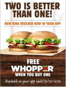 FREE Whopper® when you buy a Whopper® - on iPhone 'iOS' and 'android' Play store app @ Burger King®