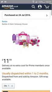 barbie glam getaway house priced at £11.99 Prime / £16.74 Non Prime - £38.00 in tesco - Amazon (Dispatched within 1-2 months)