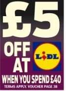 £5 off a £40 spend at LIDL voucher in Today's Daily Mail (65p)