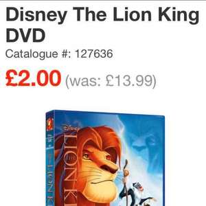 Disney Classic DVDS £13.99 to £2 @ Smyths! including Frozen, Lion King, Inside Out and many more