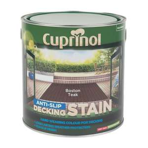 CUPRINOL ANTI-SLIP DECKING STAIN BOSTON TEAK 2.5LTR - £11.99 @ Screwfix