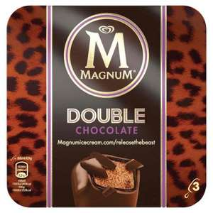 Magnum double chocolates and double peanuts butter ice cream 3 x 88ml £1.67 @ Iceland