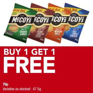 McCoys Ridge Cut Crisps (47.5g) (Varieties as stocked) was 79p now BOGOF @ Premier Food Stores