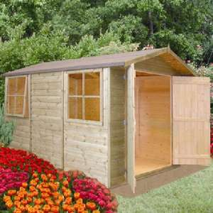 Elbecgardenbuildings £406.88 10 x 7 (2.97m x 2.05m) Shire Guernsey Apex Shed in Tongue and Groove Free delivery to most postcodes at a great price.They have many other sheds, summer houses etc on sale. Double Doors and 2 opening Windows.