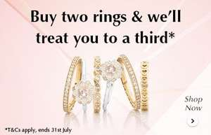 Buy two rings get one free at Pandora until 31st July
