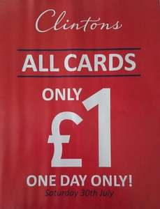Clintons One Day Only £1 Sale on All Cards - Saturday 30th July 2016...