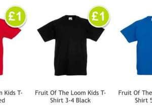 kids, men's and ladies Fruit of The Loom T-Shirts £1 @ poundshop online ( £3 p+p under £30)