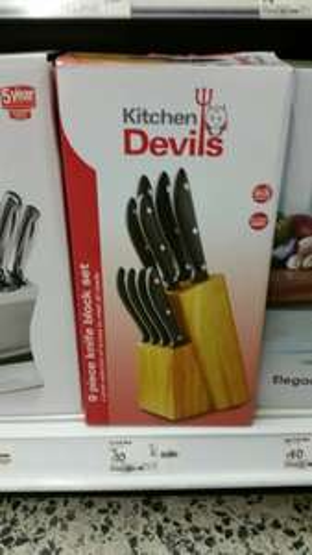 Kitchen Devils 9 Piece Knife Set with Block WAS £30 NOW £10 @ Asda