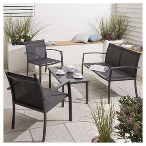 Charcoal Garden Lounge Set, 4 piece  £70 (was £110) + £7.95 delivery @ TESCO.COM or WILKO.COM (£70)with free store delivery or BMSTORES(£69.99 instore)