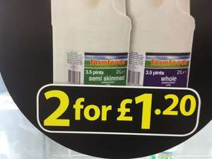 farmfoods 2x2 litre milk £1.20