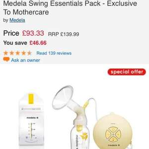 Medela swing pump on sale £93.33 @ Mothercare exclusive