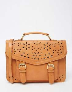 ASOS Ladies 100% GENUINE LEATHER Satchel With Flower Cut Out Detail - Tan only £17.50 Delivered