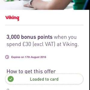 Viking 3000 Nectar points on £30 spend