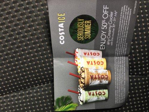 50% off costa cream cooler (instore voucher needed)