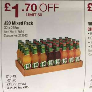 32 bottles of J20 mixed packs at Costco (incl. VAT)