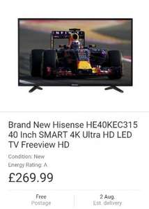 Brand New Hisense HE40KEC315 40 Inch SMART 4K Ultra HD LED TV Freeview HD - £269.99 free delivery - Ebay - electrical-deals