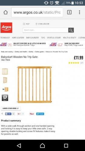 wooden baby gate £11.99 Argos