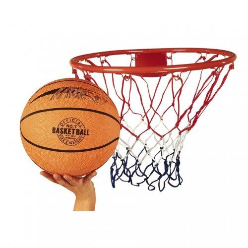 Basketball ring, net and ball £14.99 Smyth's.
