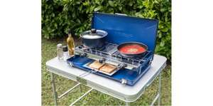 campingaz elite double camping stove with grill, hose and regulator onl £30 gooutdoors